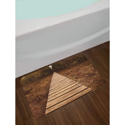 Landscape Wooden Path Heading to the Forest Walk Way towards Deep Woodland in Fall Season Non-Slip Plush Bath Rug