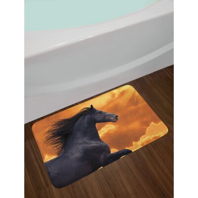 Horses Portrait of Galloping Friesian with Hot Sun Rays Intensity Honor Grace Theme Non-Slip Plush Bath Rug