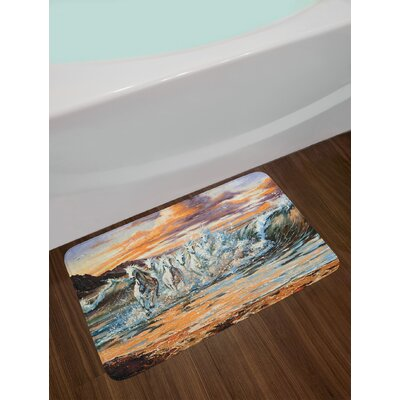 Horses Group of Pacing in Water with Fantastic Environment Life Force Paint Non-Slip Plush Bath Rug