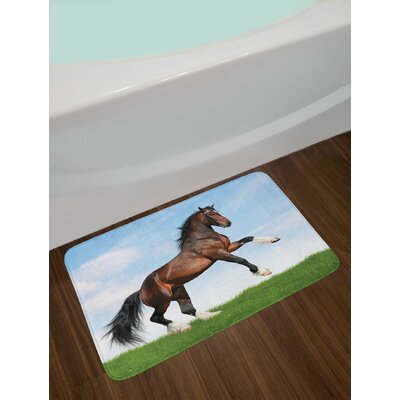 Horses Bay Pacing on the Grass Energetic Noble Character of the Nature Concept Non-Slip Plush Bath Rug