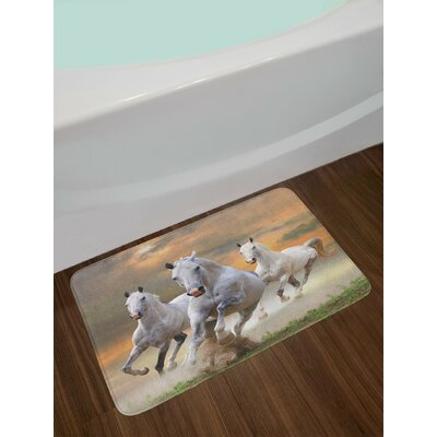 Horses Stallion Running on a Mystic Sky Background Equestrian Male Champions Print Non-Slip Plush Bath Rug
