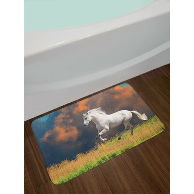 Horses Andalusian with a Majestic Dust Cloud Background Strong Desires Photo Non-Slip Plush Bath Rug