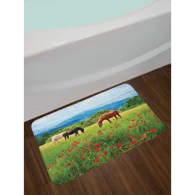 Horses Various Kinds Eating Grass in Field Mountain Landscape Rural Scene Print Non-Slip Plush Bath Rug