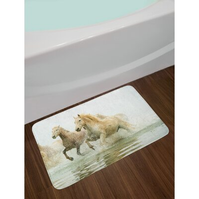 Horses Camargue in Water Ancient Oldest Breed Southern France Origin Artful Photo Non-Slip Plush Bath Rug