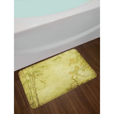 Silhouettes of Birds on the Branch and Bamboo Stems Twig Inspired Wild Life Theme Non-Slip Plush Bath Rug