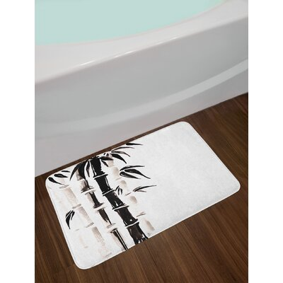 Bamboo Pattern in Chinese Watercolor Painting Asian Art Print Non-Slip Plush Bath Rug
