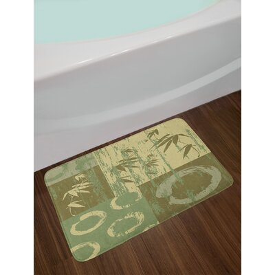 Zen Circle and Bamboo Silhouette over Oriental Eastern Patchwork Art Print Non-Slip Plush Bath Rug