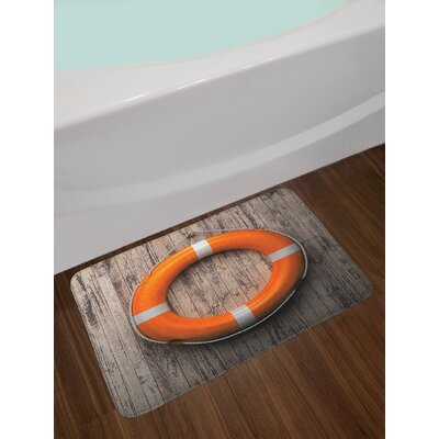 Life Buoy Attached to a Wooden Wall Hardwood with Grunge Aged Look Print Non-Slip Plush Bath Rug