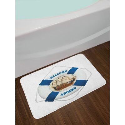 Nautical Life Buoy on the Wall Navigation Transportation Circle Shaped Artwork Non-Slip Plush Bath Rug