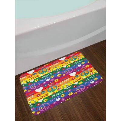 Groovy Heart Peace Symbol Flower Power Political Hippie Cheerful Colors Festival Joyful Non-Slip Plush Bath Rug