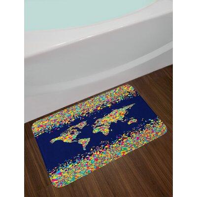 Wanderlust World Map Organized by Layers Mosaics Global Vibrant Colors Festive Non-Slip Plush Bath Rug