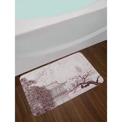 Asian Chinese Religion Temple Sakura Trees and Mountain Forms Pagoda Eastern Artwork Print Non-Slip Plush Bath Rug