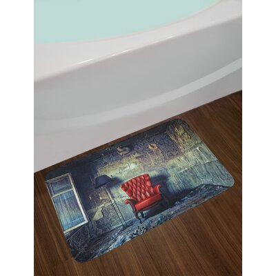 Antique Old Armchair in Grunge Interior Damaged Messy Abandoned House Old Non-Slip Plush Bath Rug