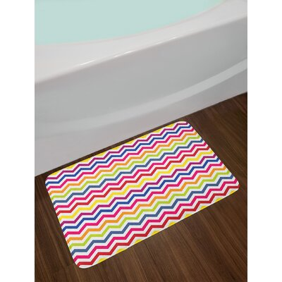 Chevron Pattern Colorful Inspired Festive Fun Enjoyment Artistic Design Non-Slip Plush Bath Rug