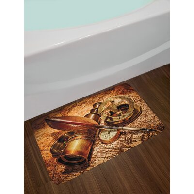 Antique Compass Goose Quill Pen Spyglass and a Pocket Watch Lying on an Old Map Print Non-Slip Plush Bath Rug