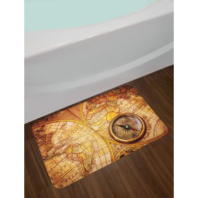 Antique Compass on an Ancient World Map Historic Borders Century Old Antiquity Theme Non-Slip Plush Bath Rug