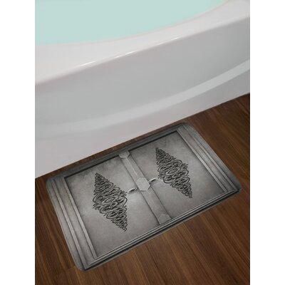 Antique Door with Vertical Ornamental Floral Pattern Travel Treasure Monochromic Non-Slip Plush Bath Rug