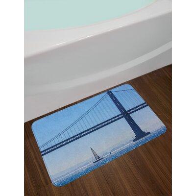 Sailboat San Francisco Bay Bridge Sailboat from Pier 7 in California USA Landmark Photo Print Non-Slip Plush Bath Rug