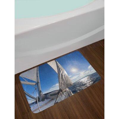 Sailboat Sailing Boat in the Sea Maritime Speedy Beaming Sun Reflections Lifestyle Theme Non-Slip Plush Bath Rug