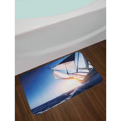 Sailboat Sail Boat in Action Summer Adventure Water Transport Sunset Travel Print Non-Slip Plush Bath Rug