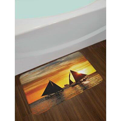 Sailboat Sailing to Sunset Boracay Island Evening Vacation Romantic Water Sports Non-Slip Plush Bath Rug