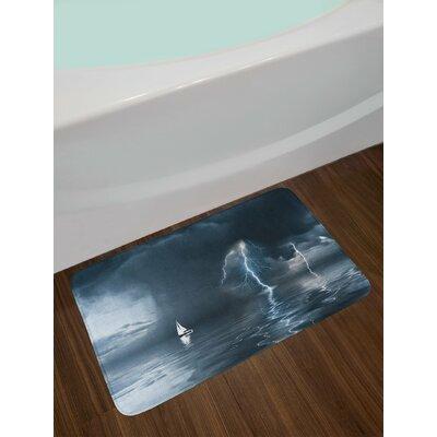 Sailboat Yacht at the Ocean Comes Nearer a Thunderstorm with Rain and Bolt Artwork Print Non-Slip Plush Bath Rug