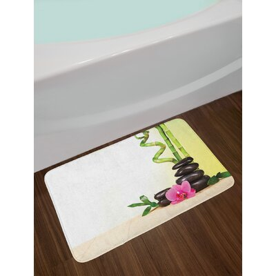 Spa Calm Life Theme with Relax Symbol Bamboo Sprouts and Rocks Asian Meditative Zen Concept Non-Slip Plush Bath Rug