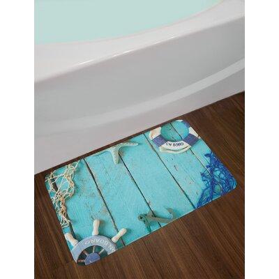 Nautical Lifestyle Theme Steering Wheel Stars Net Lifebuoy Non-Slip Plush Bath Rug