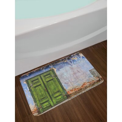 Colored House with A Pastel Weathered Door Old Days Back Then Buildings Photo Non-Slip Plush Bath Rug