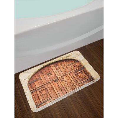 Oak Crafted Doorway on Stone Facade Artisan Handmade Features Culture Non-Slip Plush Bath Rug