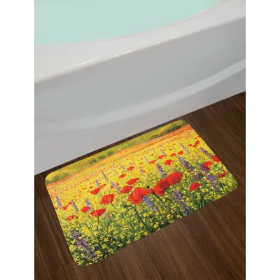 A Colorful Field with Poppies Flowers Lavender Farmland Hills Scenery Non-Slip Plush Bath Rug