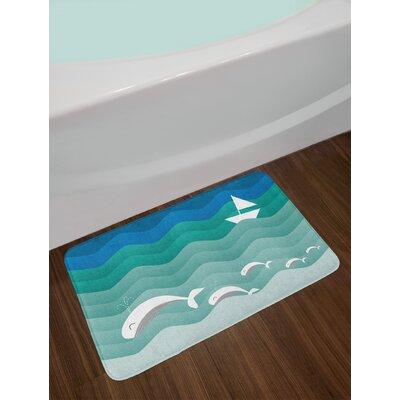Nautical Theme with Paper Boat Sea Happy Dolphins Underwater Sea Animals Non-Slip Plush Bath Rug