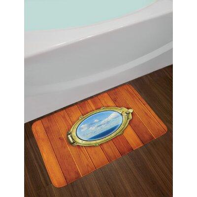Nautical Porthole on Wooden Background Window Ship Old Sailing Vessel Print Non-Slip Plush Bath Rug