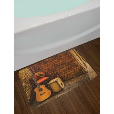 Music Instruments on Wooden Stage in Pub Beverage Cafe Counter Bar Non-Slip Plush Bath Rug