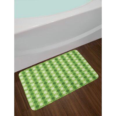 Polka Dots Featured Striped Pattern with Regular Circles Theme Art Print Non-Slip Plush Bath Rug