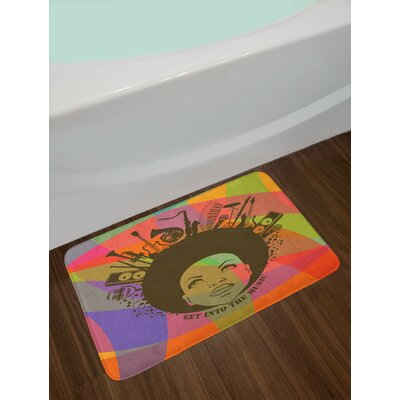 Music Illustration of African American Young Woman Portrait with Musical Instruments Print Non-Slip Plush Bath Rug