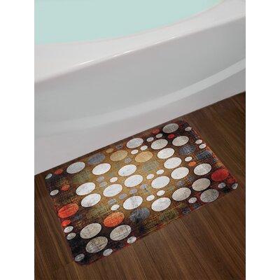 Polka Dots Random Colorful Shapes with Grunge Murk Elements Print Non-Slip Plush Bath Rug