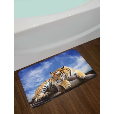 Safari Tiger Sitting on Wood Sky Wildlife Morning Stripes Predator Print Non-Slip Plush Bath Rug