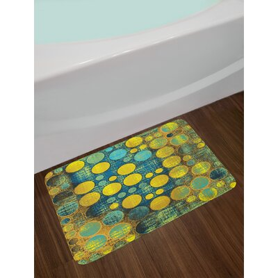 Polka Dots Pattern in 60's Groovy Seem Circles and Points Print Non-Slip Plush Bath Rug