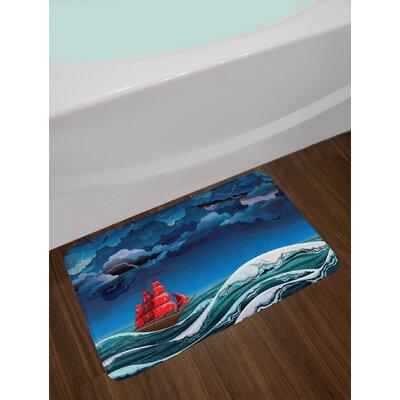 Nautical Vessel Sailing in Stormy Weather at Dark Night Majestic Wave Print Non-Slip Plush Bath Rug
