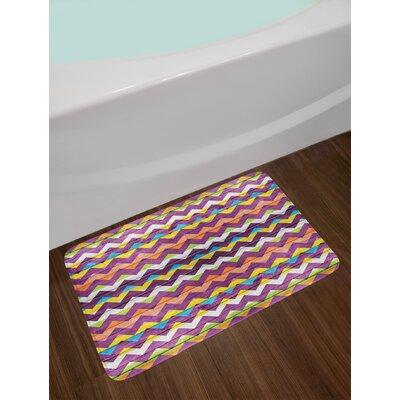 Chevron Schemes on Wood Texture Geometrical Similar to Triangle Vibrant Graphic Non-Slip Plush Bath Rug
