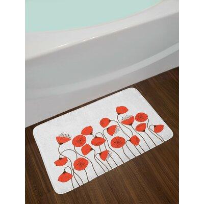 Poppy Flowers Blossom Art Deco Summertime Garden Repetition Non-Slip Plush Bath Rug