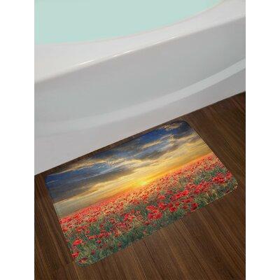 Flower Poppy Field Sunset Sky Evening View Sun Rays Dark Clouds Graphic Art Print Non-Slip Plush Bath Rug