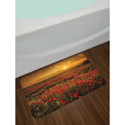 Flower Poppy Field at Sunset Sun Beams Meadow Cloudscape Wildflower Scene Non-Slip Plush Bath Rug