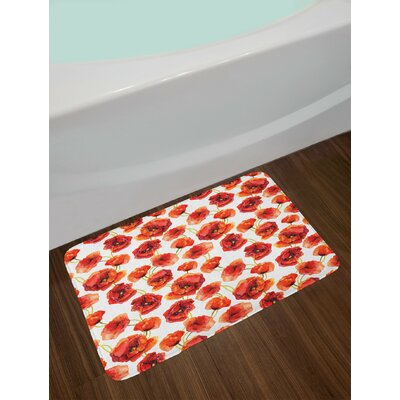 Flower Floral Pattern with Poppies Fabric Design Artwork Grassland Print Non-Slip Plush Bath Rug