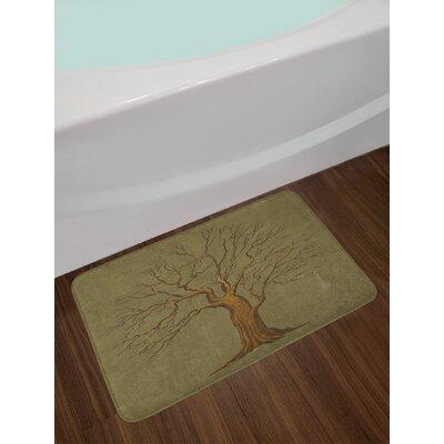 Illustration of a Big Tree on Antique Old Paper Artwork Design Print Non-Slip Plush Bath Rug