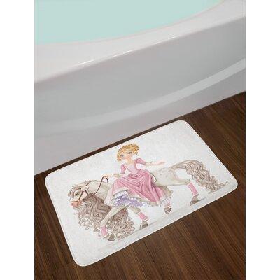 Teen Girls Pretty Smiling Princess on a Horse with a Long Mane Happiness Theme Print Non-Slip Plush Bath Rug
