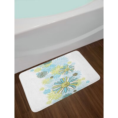 Chamomiles Flower Blossom Wildflower Blooms Summer Illustration Non-Slip Plush Bath Rug