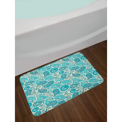 Paisley Pattern Antique Floral Pattern Ornaments Stylized Classical Middle Eastern Non-Slip Plush Bath Rug
