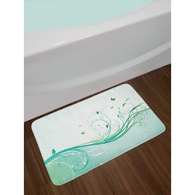 Illustration Floral Victorian Curvy Lines Wave Butterfly Design Non-Slip Plush Bath Rug